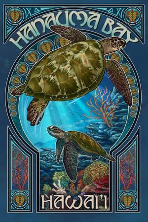 Hanauma Bay, Hawai'i - Sea Turtle - Art Nouveau