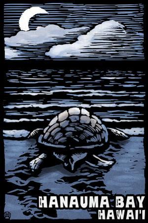 Hanauma Bay, Hawai'i - Sea Turtle - Scratchboard