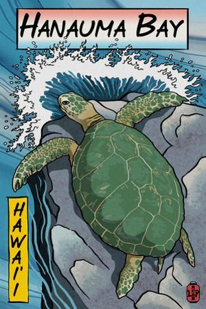 Hanauma Bay, Hawai'i - Sea Turtle - Woodblock Print