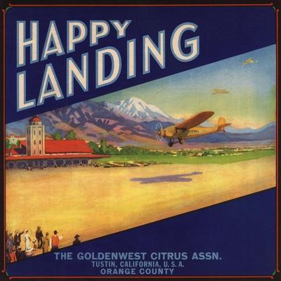 Tustin Happy Landing Airplane Orange Citrus Fruit Crate Label Art Print