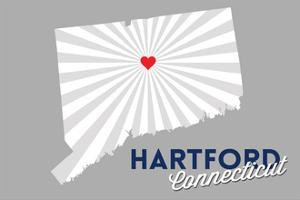 Hartford, Connecticut - Home State - White on Gray with Heart and Rays by Lantern Press