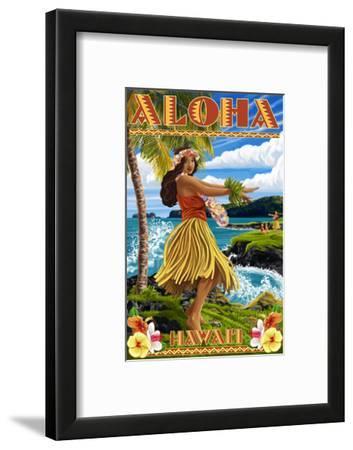 Hawaii - Aloha - Hula Girl on Coast (Flower Border)