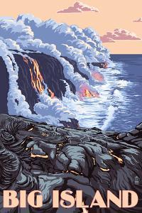 Hawaii - Big Island - Lava Flow Scene by Lantern Press