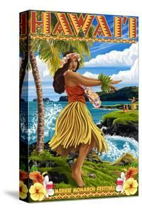 Hawaii Hula Girl on Coast - Merrie Monarch Festival by Lantern Press