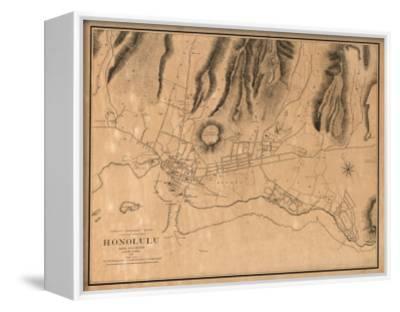 Hawaii - Panoramic Map of Honolulu by Lantern Press