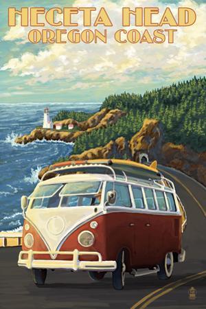 Heceta Head Lighthouse and VW Van by Lantern Press