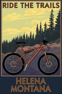 Helena, Montana - Mountain Bike Scene - Ride the Trails by Lantern Press