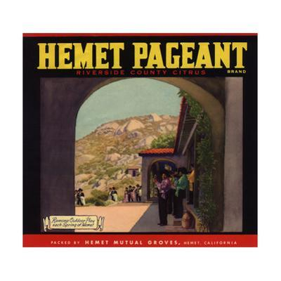 Hemet Pageant Brand - Hemet, California - Citrus Crate Label by Lantern Press