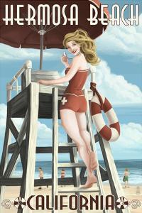 Hermosa Beach, California - Lifeguard Pinup by Lantern Press