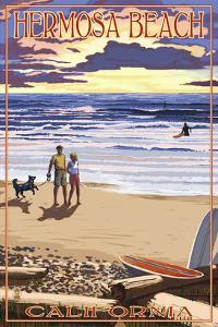 Hermosa Beach, California - Sunset Beach Scene by Lantern Press