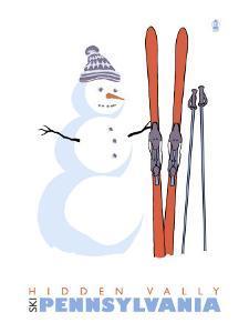 Hidden Valley, Pennsylvania, Snowman with Skis by Lantern Press