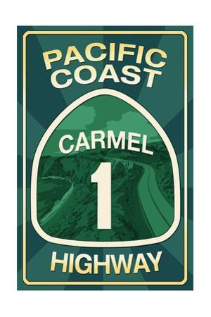 Highway 1, California - Carmel - Pacific Coast Highway Sign by Lantern Press