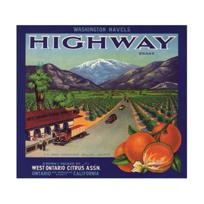 Highway Brand - Ontario, California - Citrus Crate Label by Lantern Press