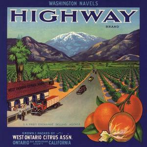 Highway Brand - Ontario, California - Citrus Crate Label by Lantern Press