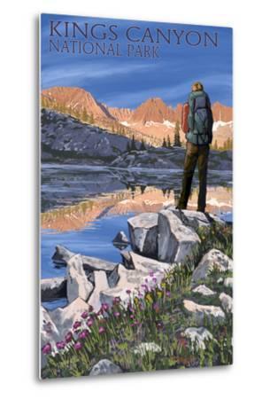 Hiker and Lake - Kings Canyon National Park, California