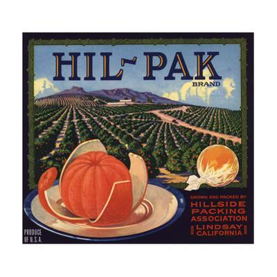 Hil Pak Brand - Lindsay, California - Citrus Crate Label by Lantern Press
