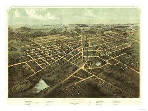 Hillsdale, Michigan - Panoramic Map by Lantern Press
