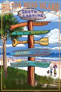 Hilton Head Island, South Carolina - Destination Signs by Lantern Press