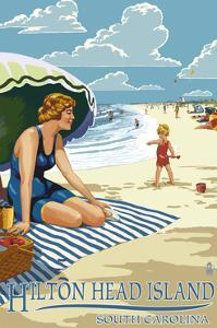 Hilton Head Island, South Carolina - Woman on Beach by Lantern Press