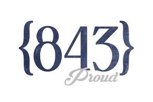 Hilton Head, South Carolina - 843 Area Code (Blue) by Lantern Press