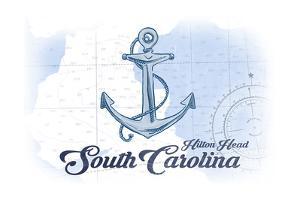 Hilton Head, South Carolina - Anchor - Blue - Coastal Icon by Lantern Press