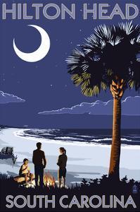 Hilton Head, South Carolina - Beach and Bonfire by Lantern Press