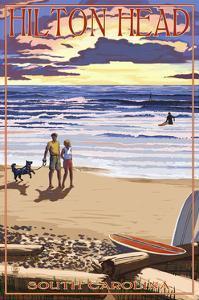 Hilton Head, South Carolina - Beach and Sunset by Lantern Press