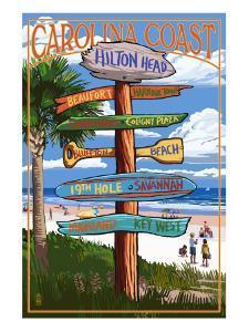 Hilton Head, South Carolina - Destination Signs by Lantern Press