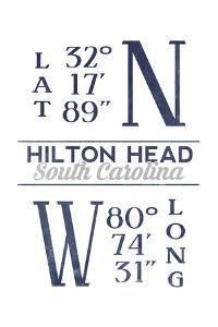 Hilton Head, South Carolina - Latitude and Longitude (Blue) by Lantern Press