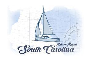Hilton Head, South Carolina - Sailboat - Blue - Coastal Icon by Lantern Press
