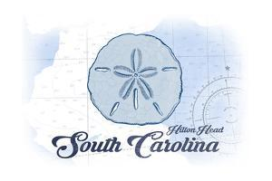 Hilton Head, South Carolina - Sand Dollar - Blue - Coastal Icon by Lantern Press