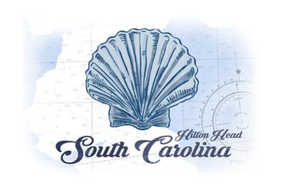 Hilton Head, South Carolina - Scallop Shell - Blue - Coastal Icon by Lantern Press