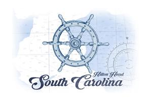 Hilton Head, South Carolina - Ship Wheel - Blue - Coastal Icon by Lantern Press