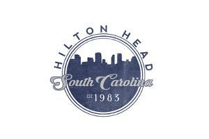 Hilton Head, South Carolina - Skyline Seal (Blue) by Lantern Press