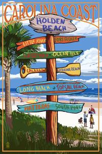 Holden Beach, North Carolina - Destination Sign by Lantern Press
