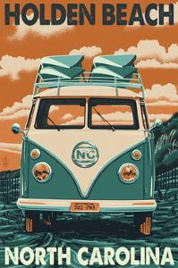 Holden Beach, North Carolina - VW Van by Lantern Press
