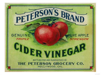 Hollywood, California - Peterson's Cider Vinegar Label