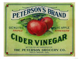 Hollywood, California - Peterson's Cider Vinegar Label by Lantern Press