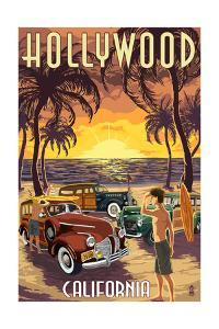 Hollywood, California - Woodies on the Beach by Lantern Press