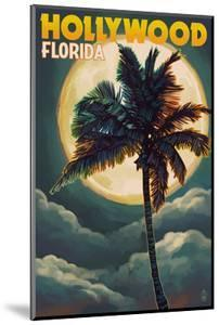 Hollywood, Florida - Palms and Moon by Lantern Press