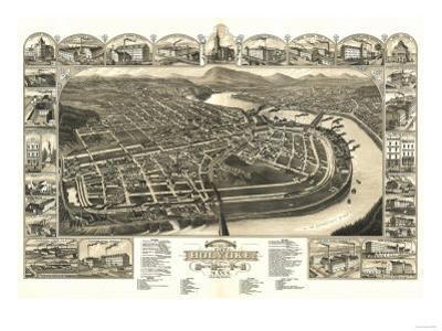 Holyoke, Massachusetts - Panoramic Map by Lantern Press