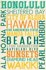 Honolulu, Hawaii - Typography by Lantern Press