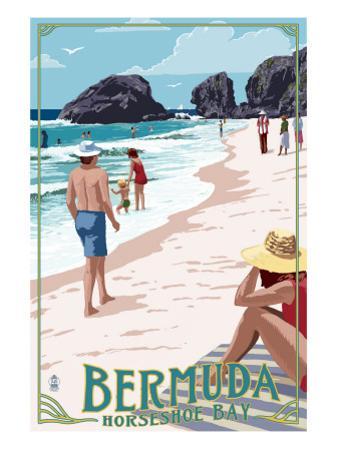 Horseshoe Bay Beach Scene - Bermuda by Lantern Press