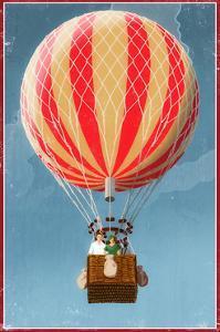Hot Air Balloon Tours - Vintage Sign by Lantern Press