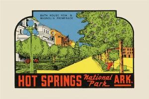 Hot Springs National Park, Arkansas - Bath House Row - Vintage Advertisement by Lantern Press