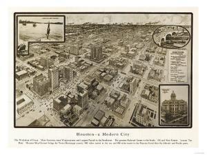 Houston, Texas - Panoramic Map by Lantern Press