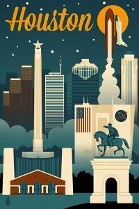 Houston, Texas - Retro Skyline by Lantern Press
