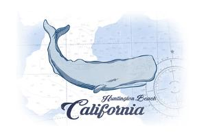 Huntington Beach, California - Whale - Blue - Coastal Icon by Lantern Press