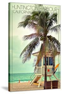 Huntington Harbour, California - Lifeguard Shack and Palm by Lantern Press