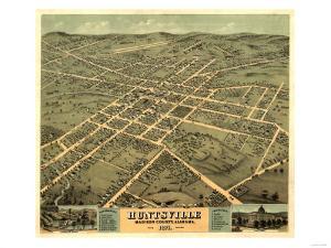 Huntsville, Alabama - Panoramic Map by Lantern Press